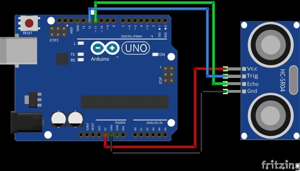 arduino with hcsr ultrasonic module by diyusthad