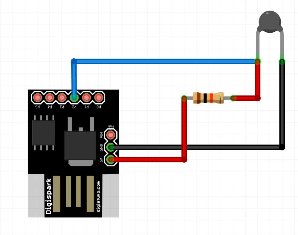 otg phone thermometer circuit using digispark attiny85